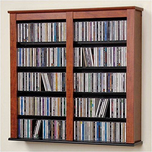 Dual Media Storage - Hawthorne Collections Double Media Wall Storage in Cherry and Black