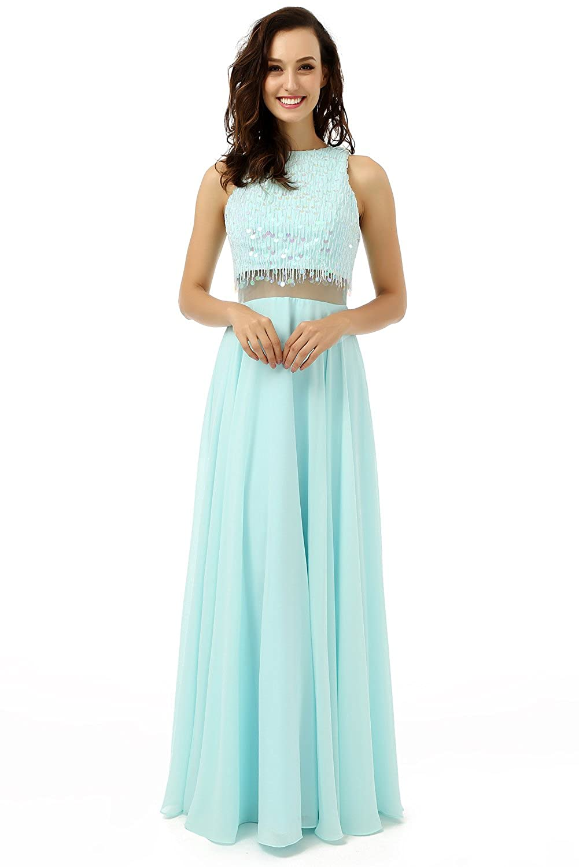 Engerla Women's Illusion Two Piece Jewel Sequins Sleeveless Empire Line A-line Chiffon Prom Dress