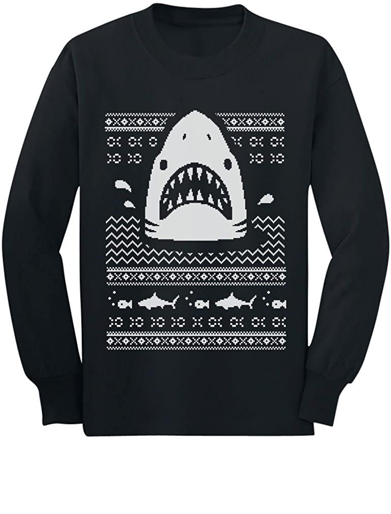 Great White Shark Ugly Christmas Sweater Toddler//Kids Long Sleeve T-Shirt