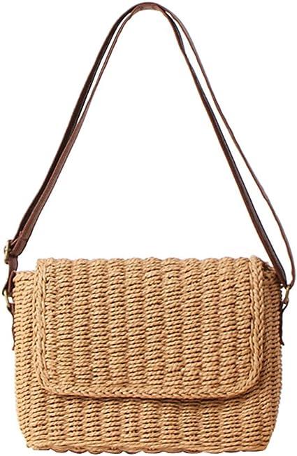 paglia crossbody borsa da spiaggia borsa estiva MoGist Borsa in paglia piccola ed elegante a mano 17*12 cm da donna Style1