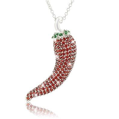 a221ac97bdf0 Collar de plata cadena de 42cm colgante de ají 925 zirconia cúbica chile  pimiento rojo picante  Amazon.es  Joyería