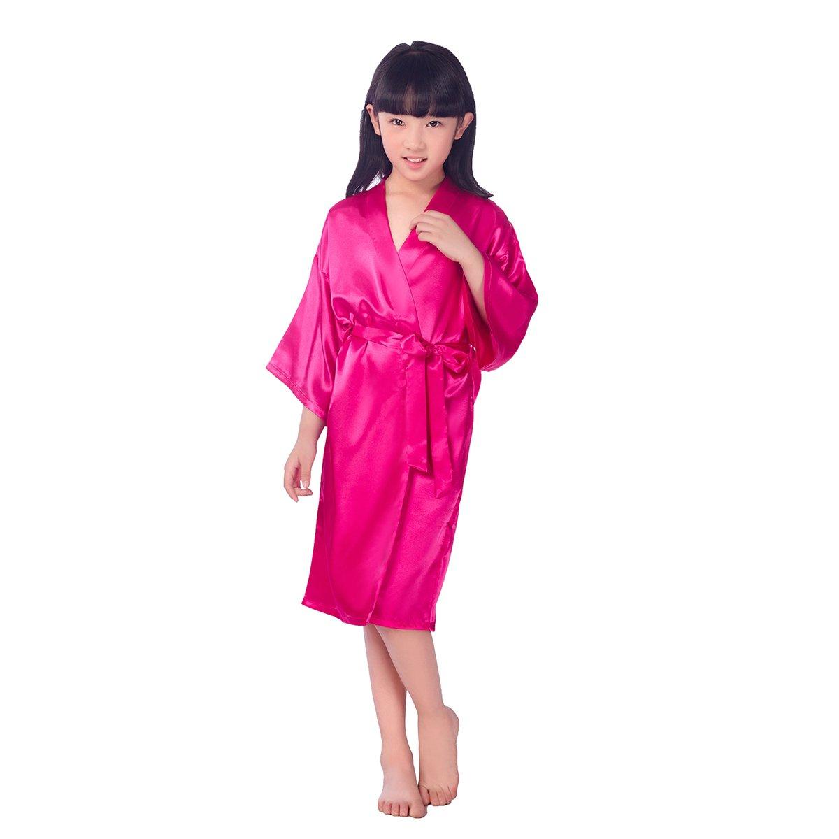 Rose Red LUOEM Kids Satin Robe Kimono Robe Spa Stain Bathrobe Nightgown for Party Birthday Size 8