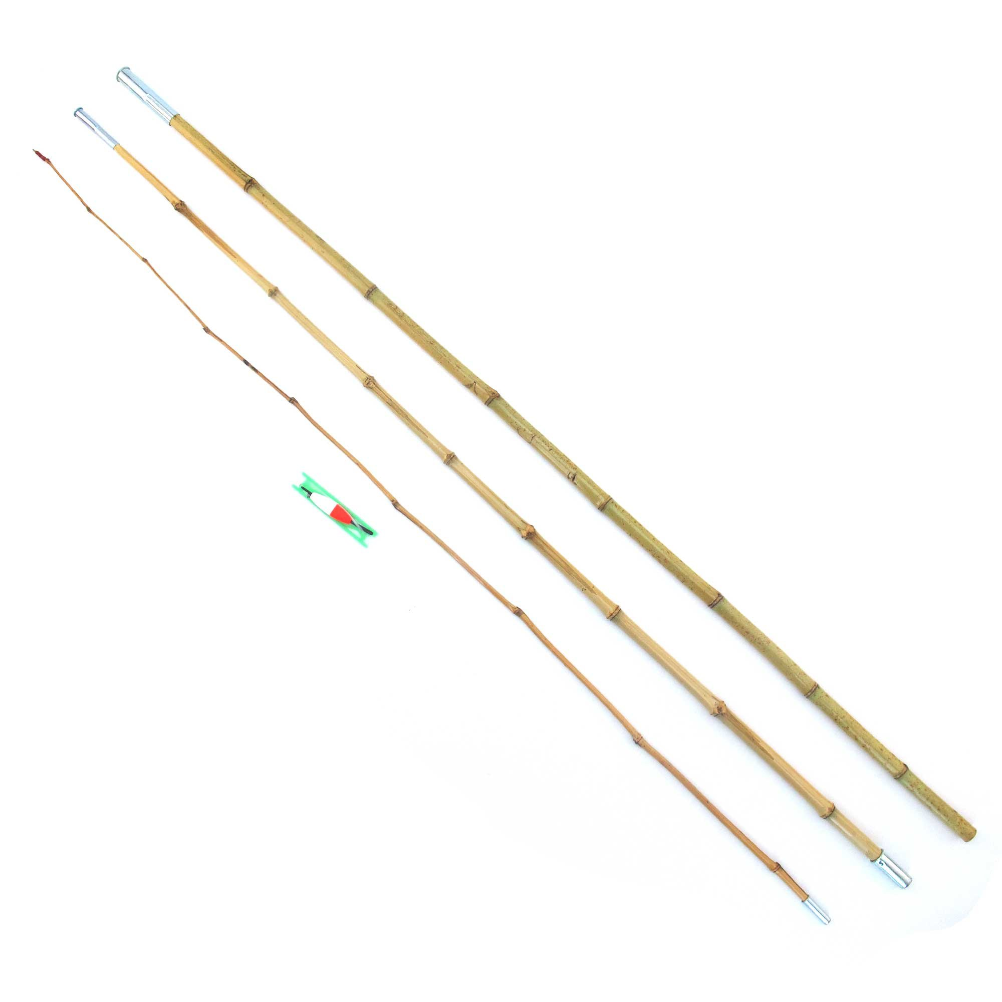 BambooMN 11.5 Ft 3 Piece Natural Bamboo Vintage Cane Fishing Pole with Bobber, Hook, Line and Sinker, 3 Sets by BambooMN (Image #2)