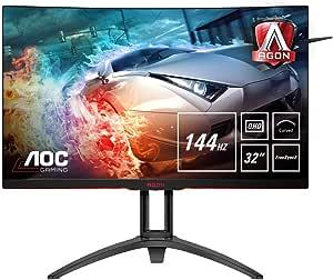 AOC AGON AG322QC4 Curved Monitor 80 cm (31,5 inch) (HDMI, DisplayPort, USB Hub, Free-Sync 2, HDR 400, 4ms reactietijd, 2560x1440, 144Hz) zwart/rood