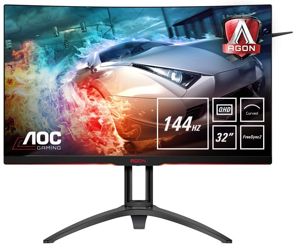 AOC AGON AG322QC4 31.5 Inch Curved VA LED QHD (2560 x 1440) HDR 400 Freesync 2 144Hz Gaming monitor with Built-in Speakers. (VGA, HDMI x 2, DisplayPort x 2, USB 3.0 x 2) - Black/Silver