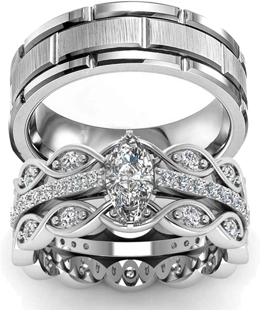 Gy Jewelry Two Rings His Hers Wedding Ring Sets Couples Rings Women's 2PC White Gold Filled Cubic Zirconia Wedding Engagement Ring Bridal Sets & Men's Stainless Steel Wedding Band