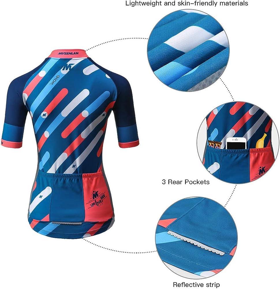 Mysenlan Abbigliamento Ciclismo Maglia da Donna Manica Corta per Bici con Pantaloncini 3D Imbottiti Cycling Jersey Set