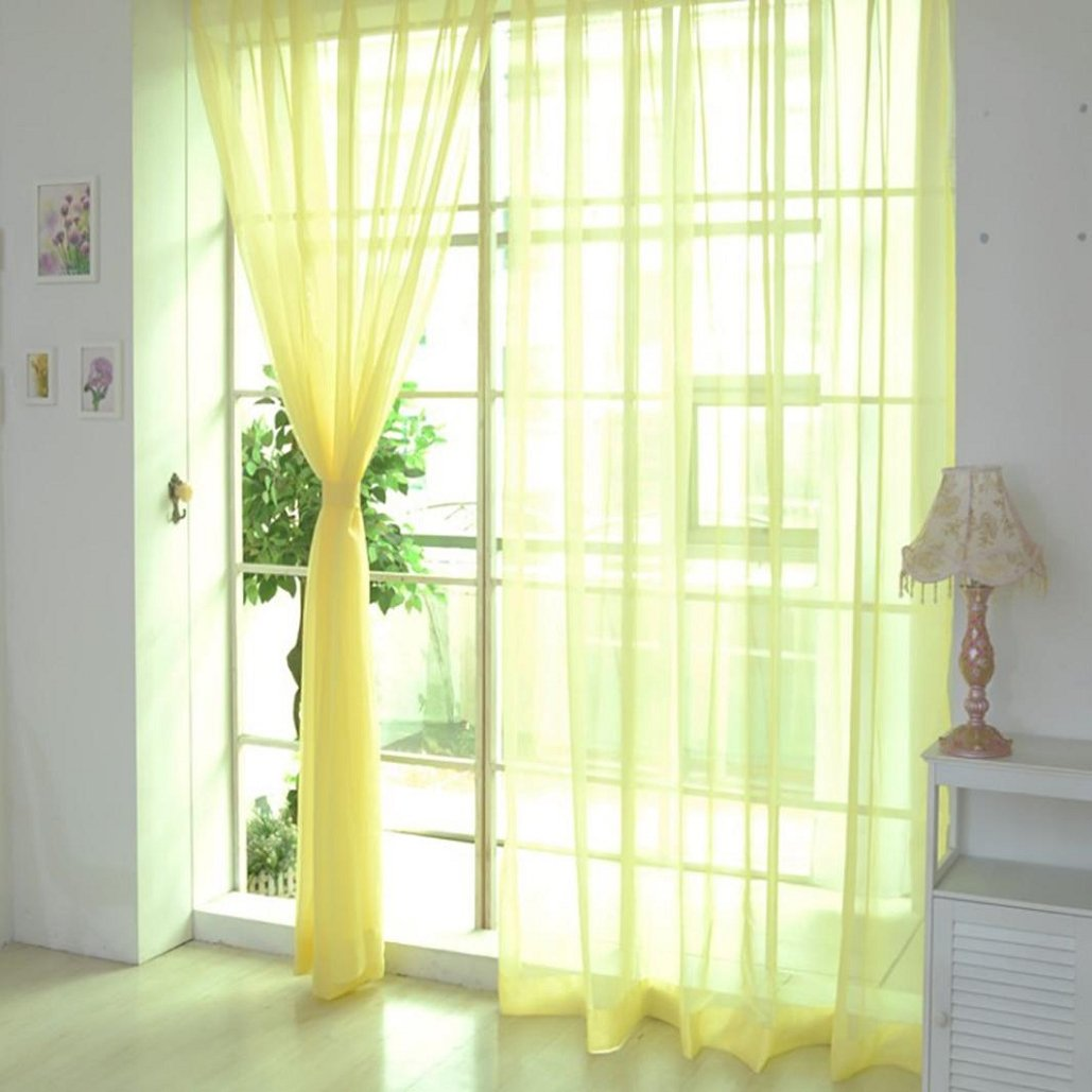 Drape Pure Color Tulle Door Window Curtain,Voile Curtain Scarf ,Tuscom (#5, 100x270CM/2PC)