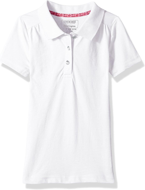 CHEROKEE Girls Uniform Short Sleeve Polo with Rhinestones