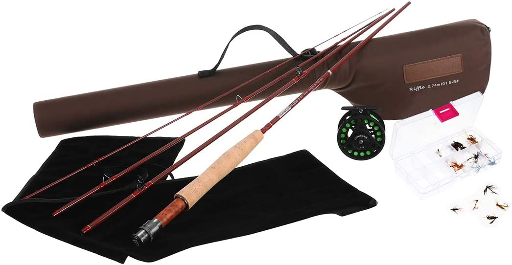 Amazon Com Fishingsir Fly Fishing Rod And Reel Combo Anglers Fly Fishing Outfit Complete Starter Full Kit Sports Outdoors