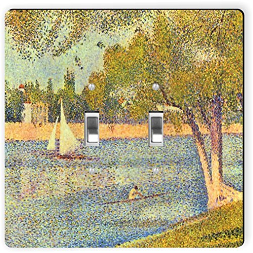 Rikki Knight 3092 Double Toggle Georges-Pierre Seurat Art The Seine At Grande Janne Design Light Switch Plate