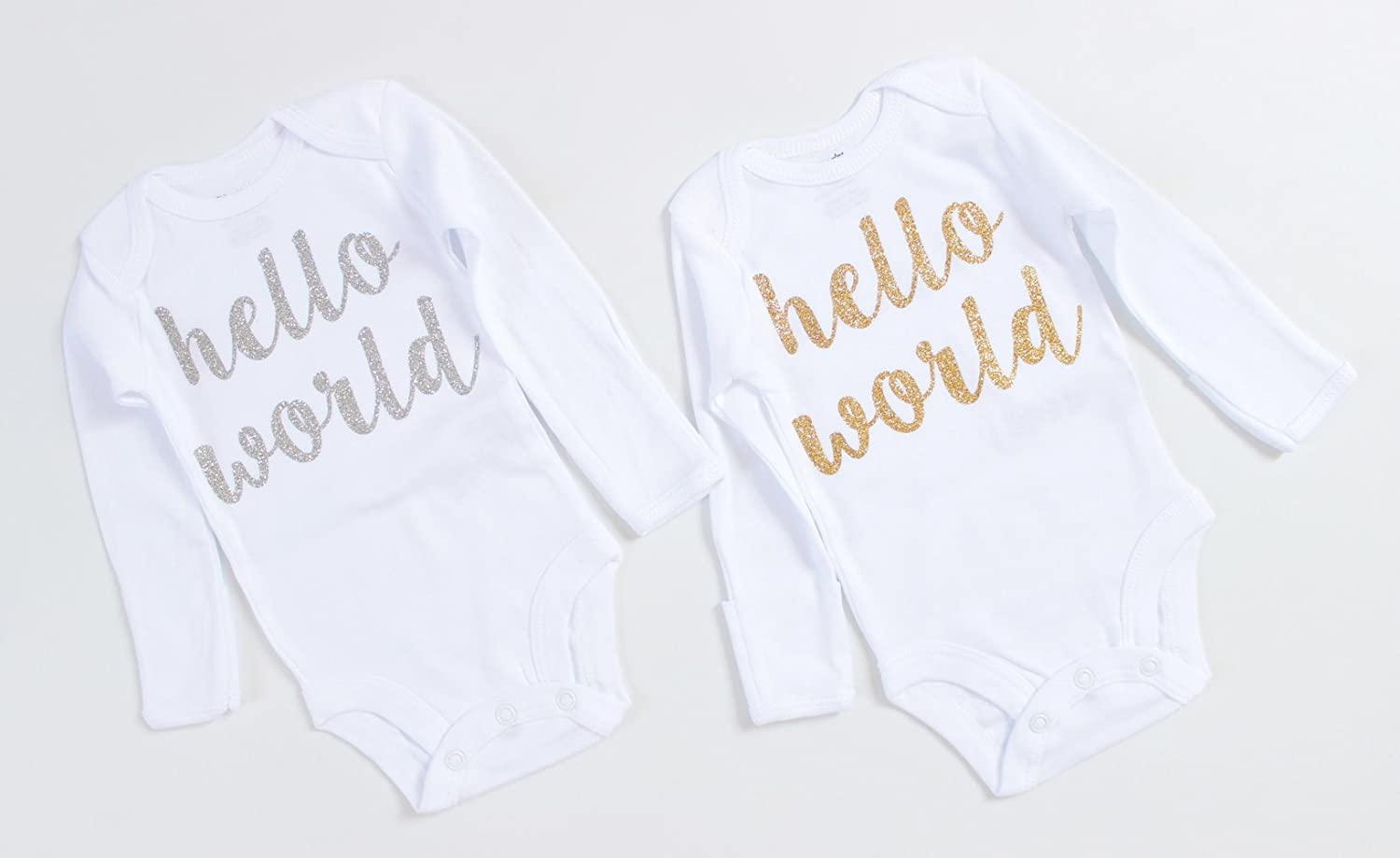 OoSweetCharlotteoO 3pcs Newborn Baby Girl Coming Home Outfit Hello World Bodysuits 3pcs