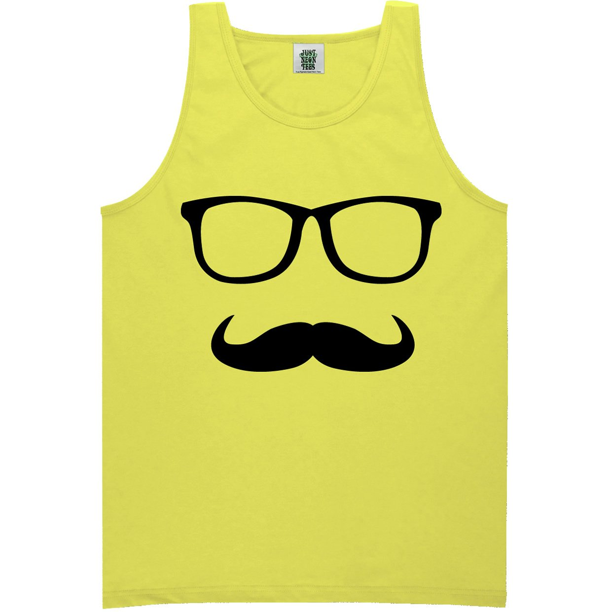 Mustache and Glasses Bright Neon Yellow Tank Top - XX-Large
