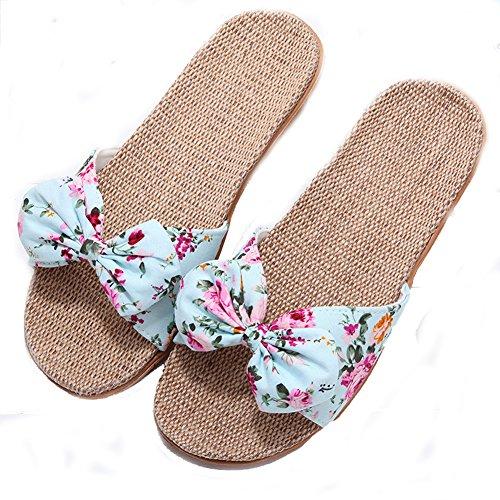 Summer Skidproof Bowknot Travel Slide Beach Blue Hemp Sandals Flat Cute Indoor Lightweight Slippers Footwear Slippers Linen Floral Scuff Home Womens RYnxtwzpw