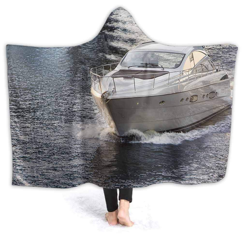 prunushome Hooded Blanket, White Motor Boat on Water at Sunset Comfy Soft Fleece Mink Micro Plush Wrap Throws Blanket Robe for Women and Men, 60W by 50H Inches