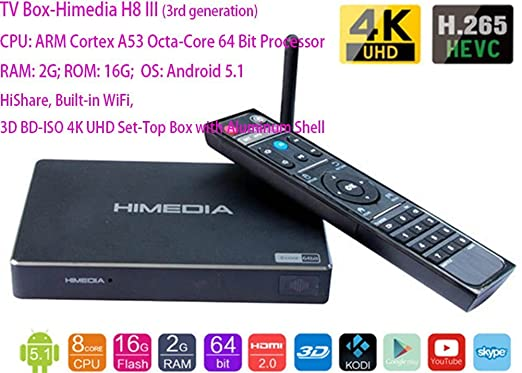 3 opinioni per HiMedia H8 Octa-Core Chips 64Bit Android Smart TV Box 2GB RAM 16GB ROM HiShare