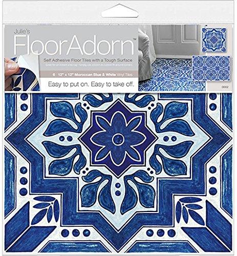 flooradorn-6-count-self-adhesive-instant-vinyl-floor-decor-blue-white-moroccan-12-x-12-inch