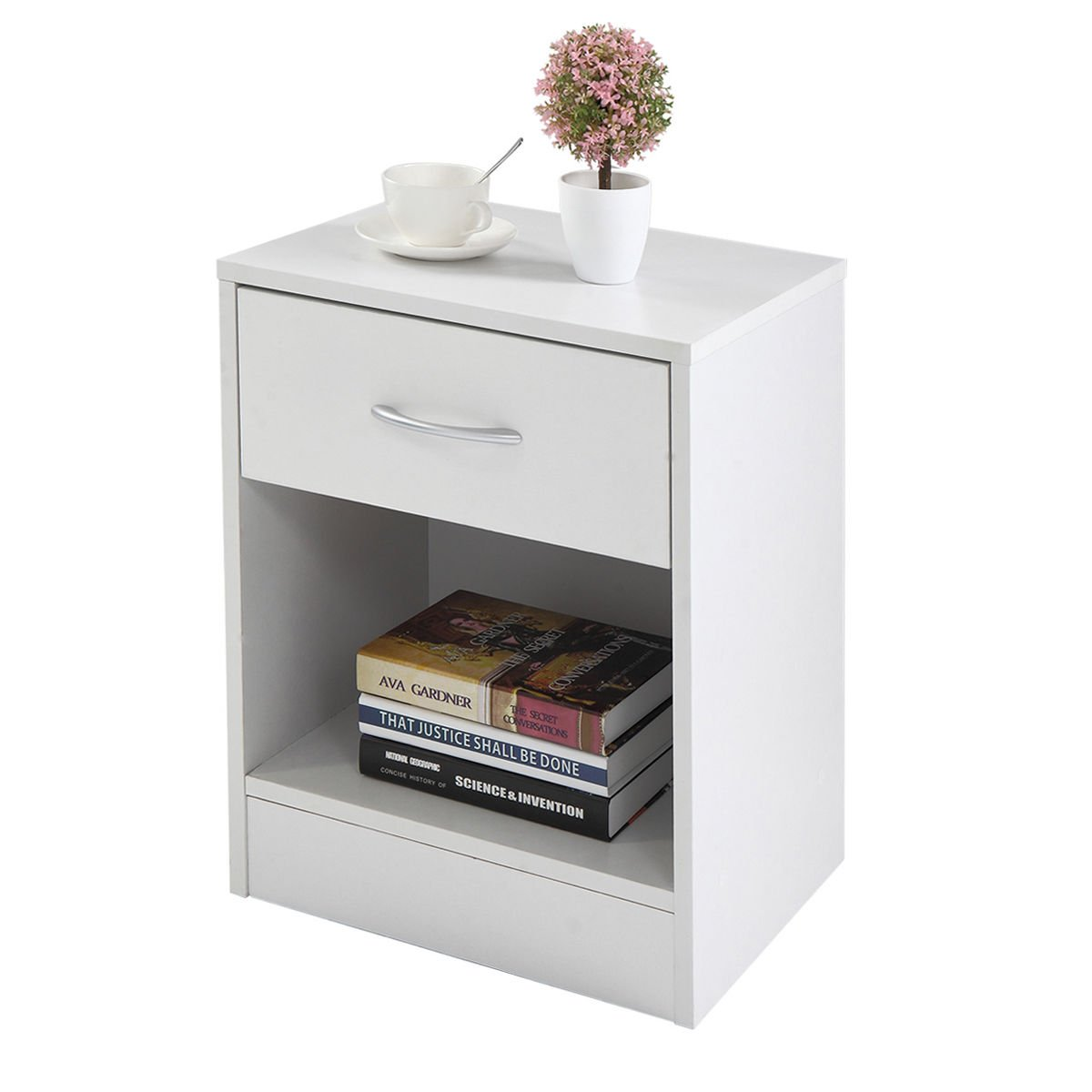 New Set of 2 White Bedroom Night Stand Bedside Table Furniture Open Storage W/ Drawer Storage by totoshoptable