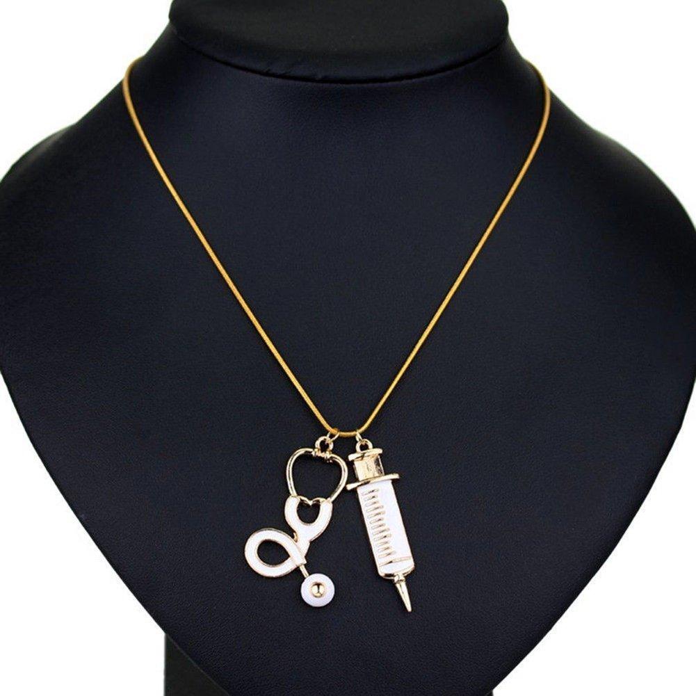 Niceyo Medical Stethoscope Syringe Charm Pendant Choker Necklace