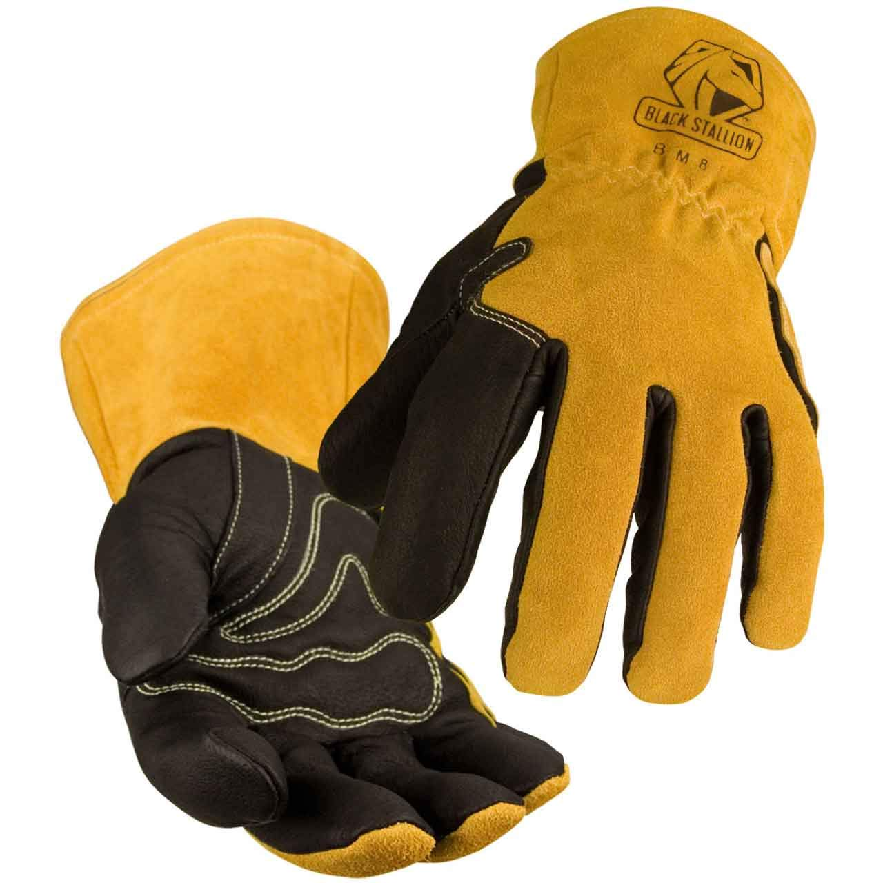 BLACK STALLION BSX® Premium Grain Pigskin Cowhide Back MIG Welding Gloves - 2XL