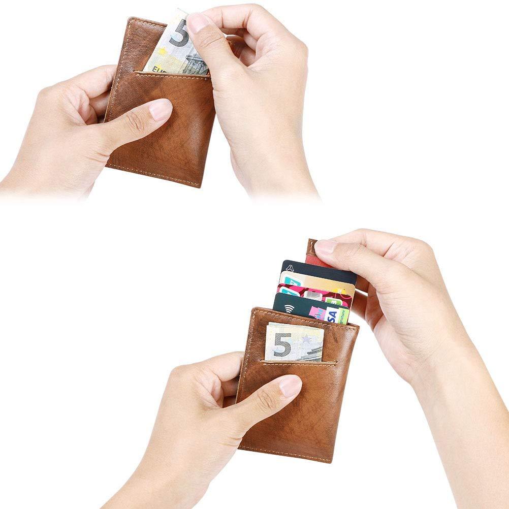 Billetera Bifold Hombres 14 * Ranuras para Tarjetas Titular de la Tarjeta de Cr/édito con Coin Pocket Incluye Cable USB Winder Monedero de Bloqueo RFID flintronic/® Billetera de Cuero Genuino