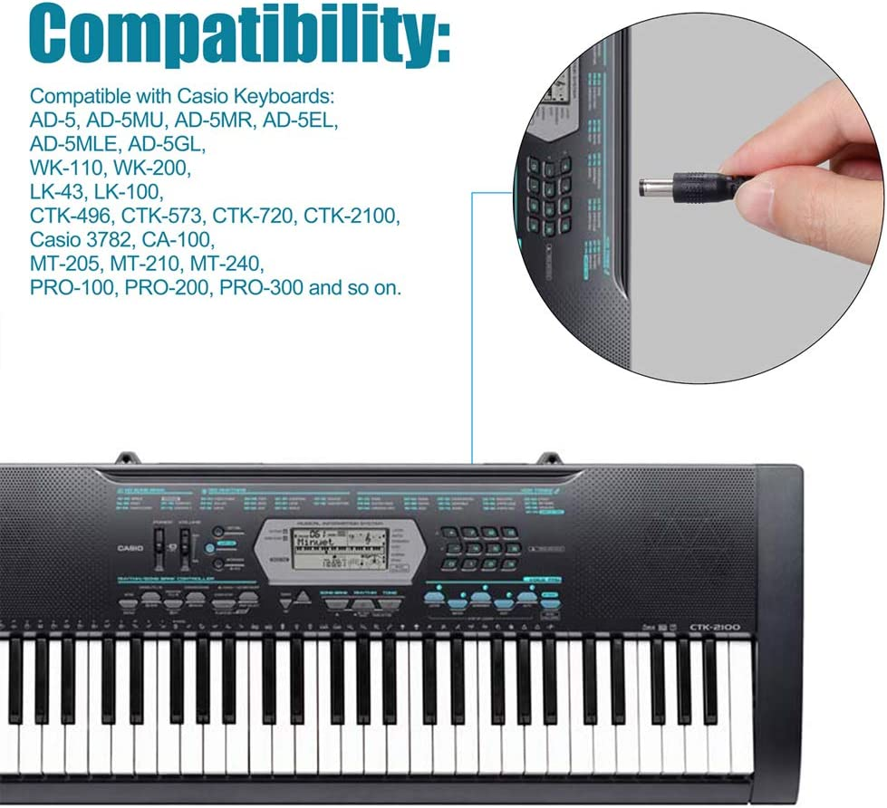 SoulBay - Fuente de alimentación para Teclado Casio Piano ...