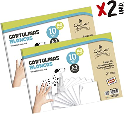 Quijote Paper World Pack 2 Blocs de Papel, Cartulinas, Papel A3, Papel Manuladidades, 20 Hojas A3, 180gr/m² para Manualidades, Dibujo, Diseños, etc. Blanco: Amazon.es: Oficina y papelería