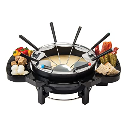Global Gourmet Set de Fondue suizo para chocolate y queso, con 8 tenedores de colores