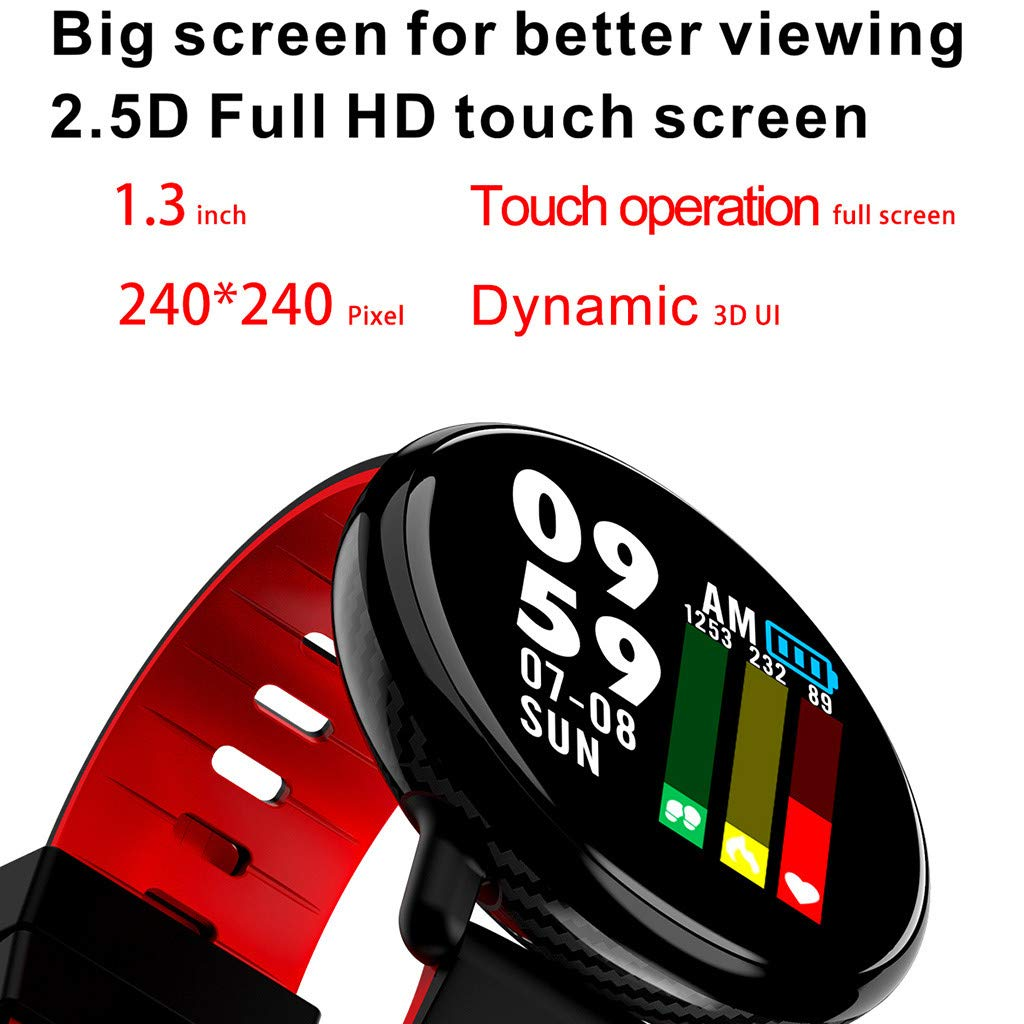 for Android iOS, Sport Smart Watch, Fitness Calorie Blood Pressure Heart Rate Monitor, Remote Photography Smart Bracelet (Red) by YNAA (Image #6)