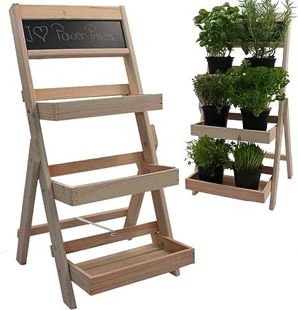 Flores Escaleras de madera de madera 74 x 39 x 40 cm Plantas en Natural Escaleras con pizarra Flores Estantería con impregnación impermeable y duradero.: Amazon.es: Hogar