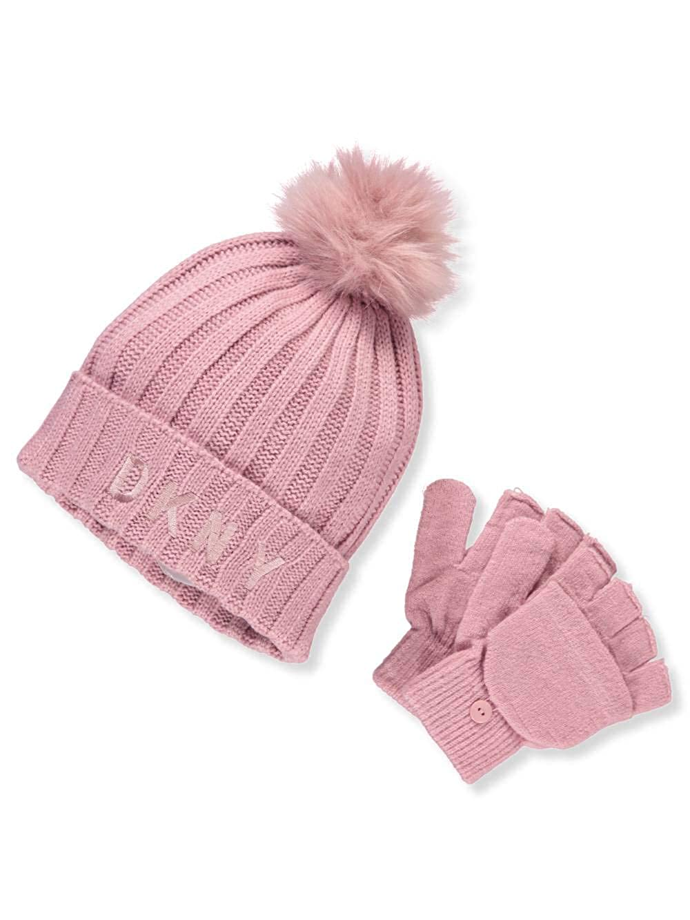 28c66c125 DKNY Girls' Knit Beanie & Gloves Set - Pink, 7-16: Amazon.co.uk ...