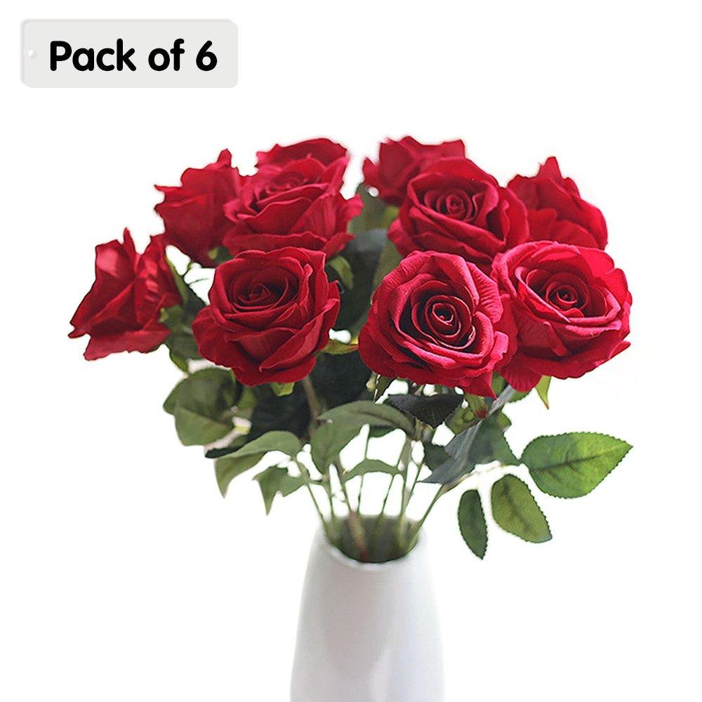 Ya jin 6束シルク人工バラFake Flowers Bouquets Arrangements 1.5フィートホーム装飾、ウェディングデコレーション レッド YJUKZS543-3 B079QVWJKY レッド
