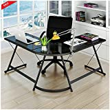Ergonomic Corner Desk Modern Workstation 3 pc Table Laptop Stand Writing Study Computer Home and Office Comfortable Stylish Design Quality Space Saver Large Area & eBook by BADA shop