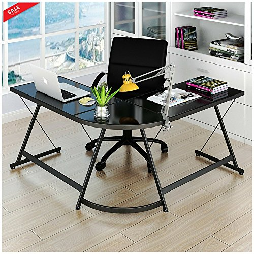 Ergonomic Corner Desk Modern Workstation 3 pc Table Laptop Stand Writing Study Computer Home and Office Comfortable Stylish Design Quality Space Saver Large Area & eBook by BADA shop by BS
