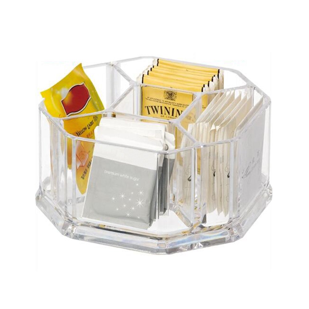 Frjjthchy Transparent Acrylic Sugar Packet Holder Perfect Container for Sweeteners (6.30x6.30x3.15 In)