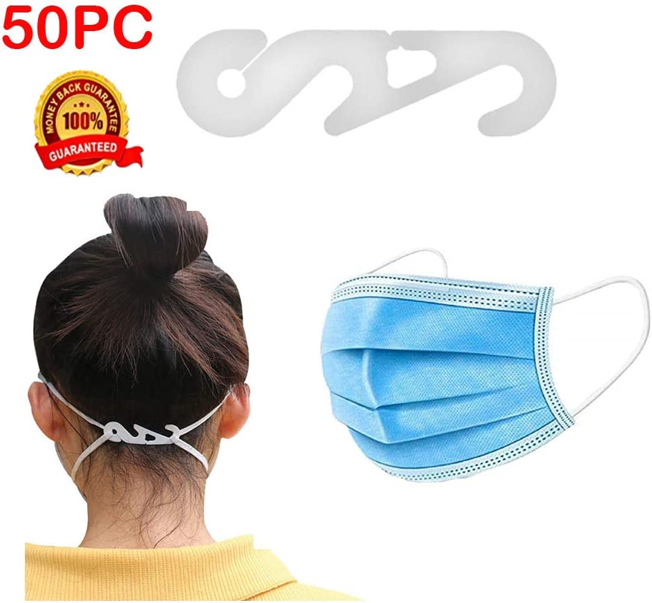 Vdaye 50PCS Strap Extender Adjustment Kid Adult Anti-Tightening Ear Protector Non-Slip Decompression Holder Hook Ear Strap Accessories Ear Grips Extension Buckle