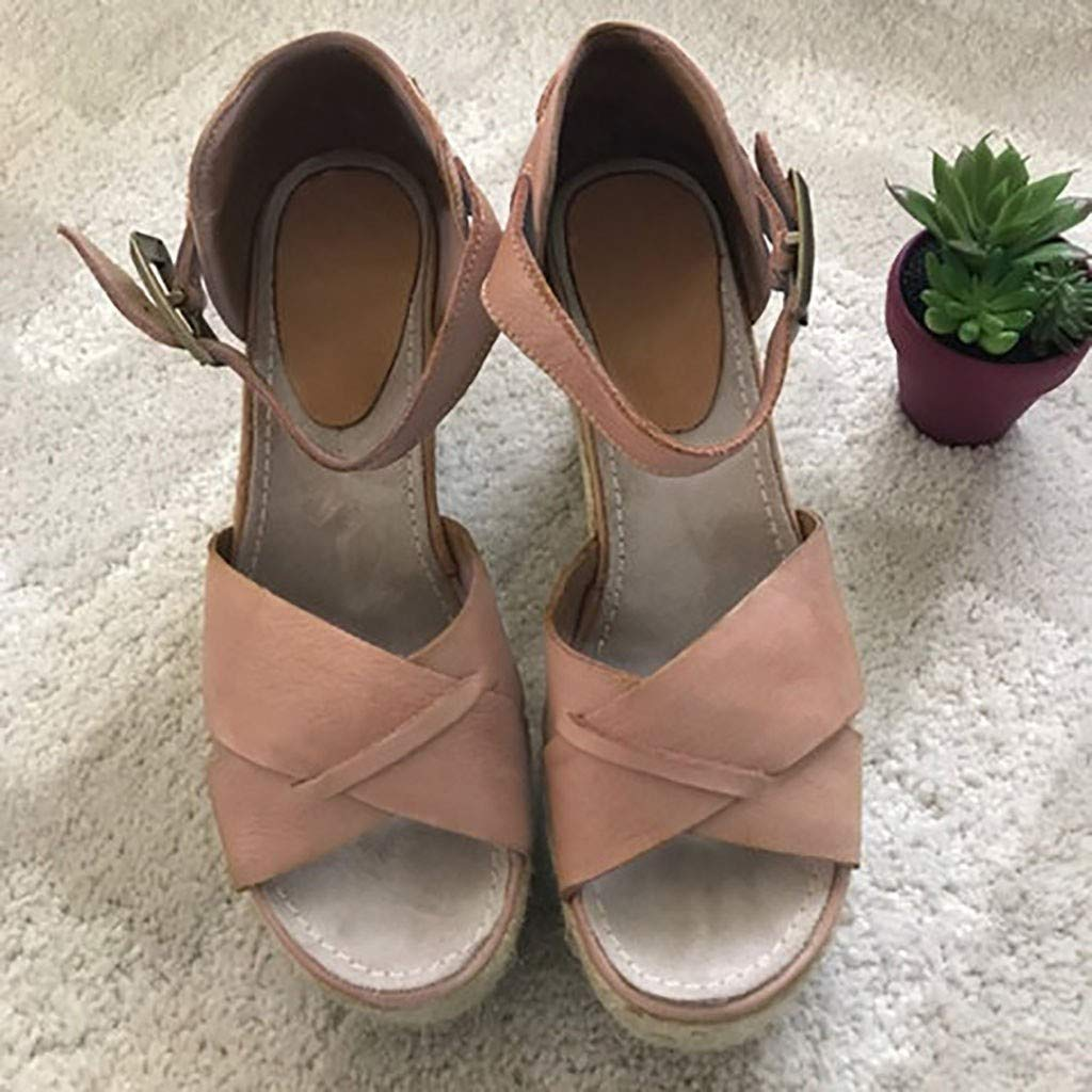 VESNIBA Women's Wedge Sandals Thick-Soled Waterproof Buckle with Roman Sandals Pink by VESNIBA LLC (Image #5)