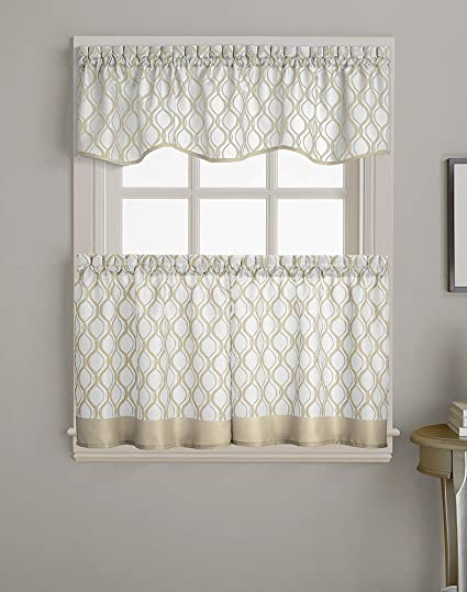 CHF Morocco Ogee Print Scallop Window Kitchen Curtain Valance, Rod Pocket,  58W x 14L inch, Oyster
