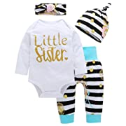 OUTGLE Newborn Baby Girl Toddler White Romper + Stripe Trousers + Hat + Headband Autumn Winter Outfits (0-3 Months, Multicolor)