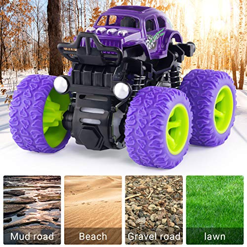 Anaoer Monster Trucks Inertia Car Toys - Friction Powered Car Toys for Toddlers Kids Birthday Christmas Party Supplies Gift for Boys and Girls (4 Color)
