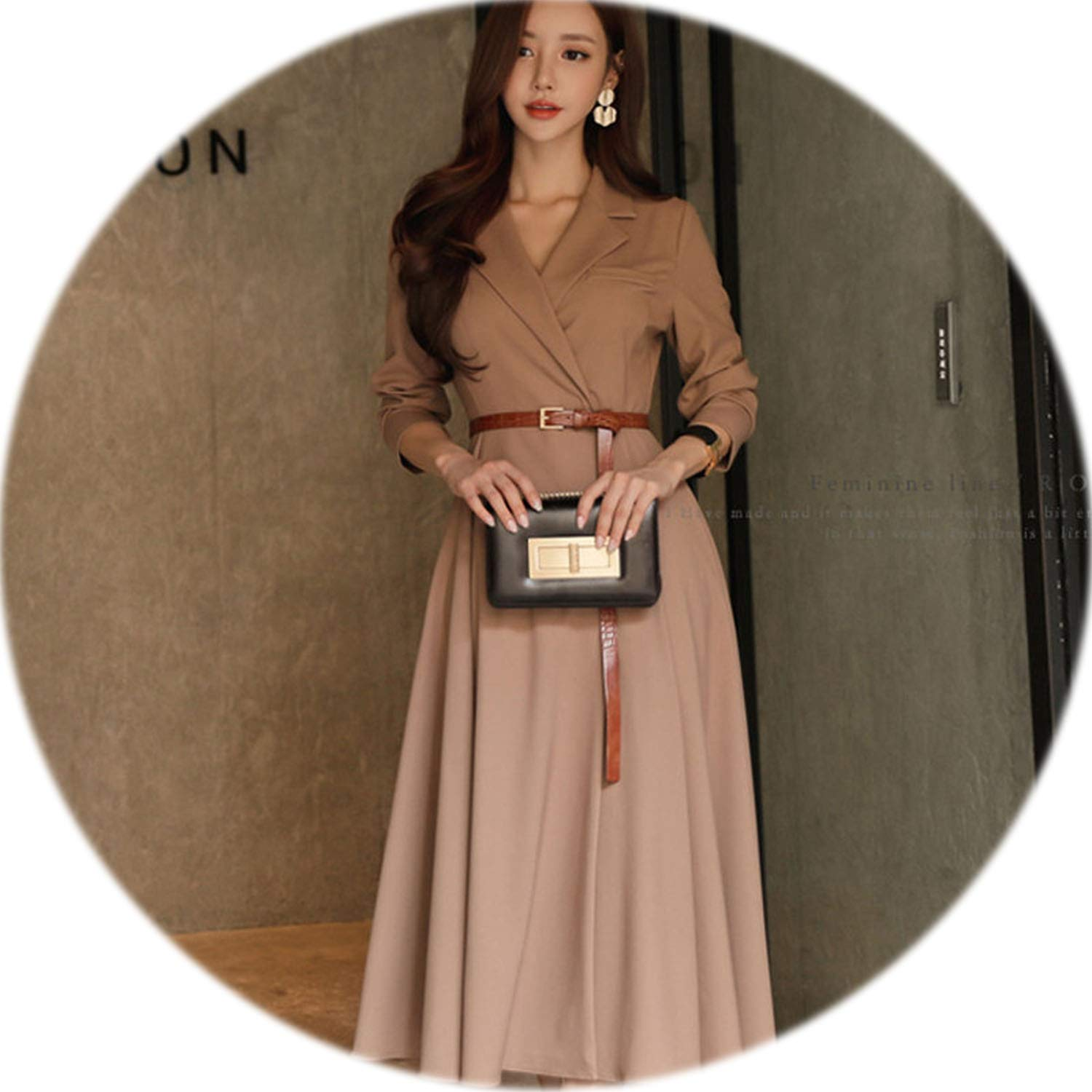Picture color rather be Elegant VNeck Women Aline Dress Casual Long Sleeve Slim Waist Sashes Pleated Patry Vestidos Femme
