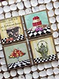Black and white check tea party themed coasters