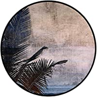 Printing Round Rug,Hawaiian Decorations,Palm Tree Leaves on Grunge Background with Sea Vintage Waterscape Illustration Mat Non-Slip Soft Entrance Mat Door Floor Rug Area Rug For Chair Living Room,Beig