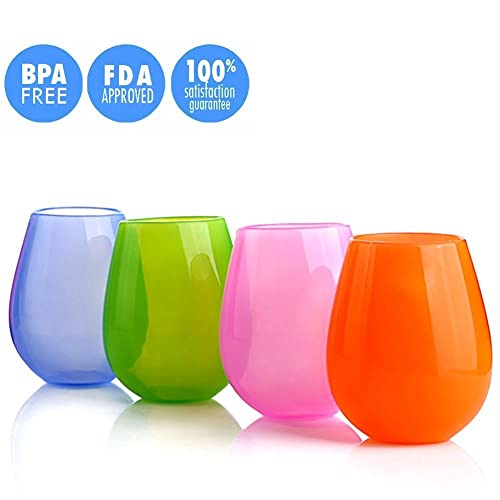 ThreeCat Set of 4 Silicone Unbreakable Wine Glasses Collapsible Stemless Outdoor Glasses Beer Whiskey Portable Drinking Cups (12oz 4 colours)