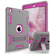 Topsky Case for New iPad 9.7 2018,Three Layer Armor Defender Full Body Protective Case Cover For Apple iPad 9.7 (2017/2018 Release),Grey Pink