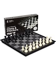 Yellow Mountain Imports 2-in-1 Travel Magnetic Chess & Checkers Set 31 centimeters - Portable & Travel Perfect