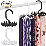 SENHAI 4 Pack Rotating Tie Rack Belt Hanger Organizer for Closet Men, with 20 Non-Slip Plastic Hooks - White, Black