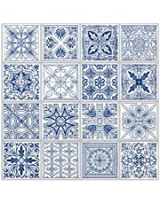 Tic Tac Tiles - Premium Anti Mold Peel and Stick Wall Tile Backsplash in Portuguese Blue (Portuguese Blue, 5)