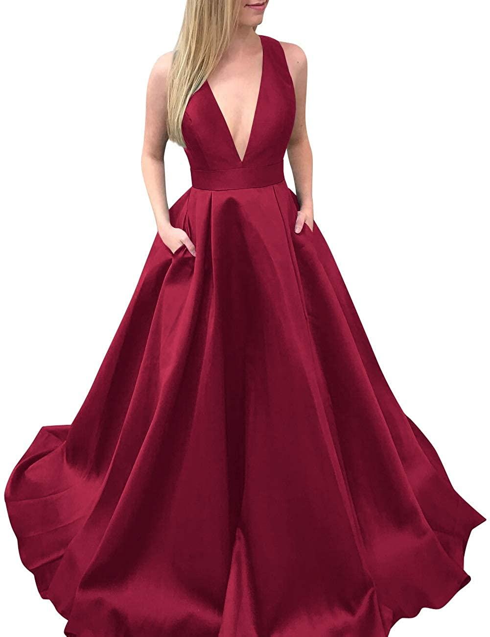 Burgundy MorySong Women's Deep VNeck Bowknot Back Satin Prom Evening Dress with Pockets