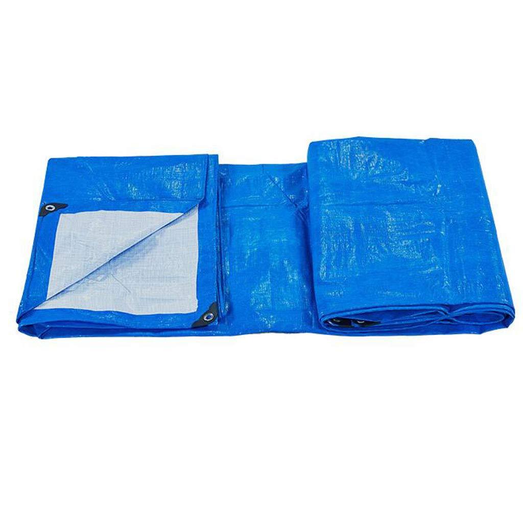 LEGOUGOU Verdicktes PE-Regenschutztuch Multifunktionales, Wasserdichtes Sonnenschutztuch Für Den Außenbereich LKW-Planen Blau Und Weiß Anti-Säure-Korrosionsschutz-Sonnenschutzmittel Abriebfest